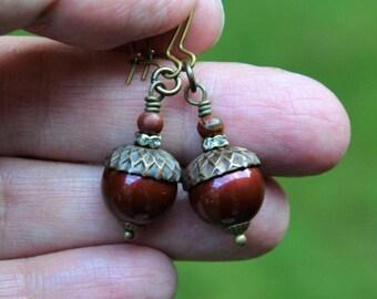 ERSTWHILE ACORN XII~~bordeaux Swarovski crystal pearls & jasper antique brass earrings