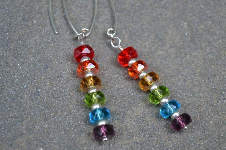 OVER THE RAINBOW~~Beautiful Czech Red Orange Yellow Blue Purple Glass Beads and Seed Beads Sterling Silver Earrings