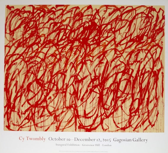 cy twombly exhibition poster bacchus gagosian gallery | etsy