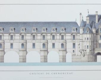 Chateau de Chenonceau exhibition poster - French Castle - historical architecture - museum print - architect