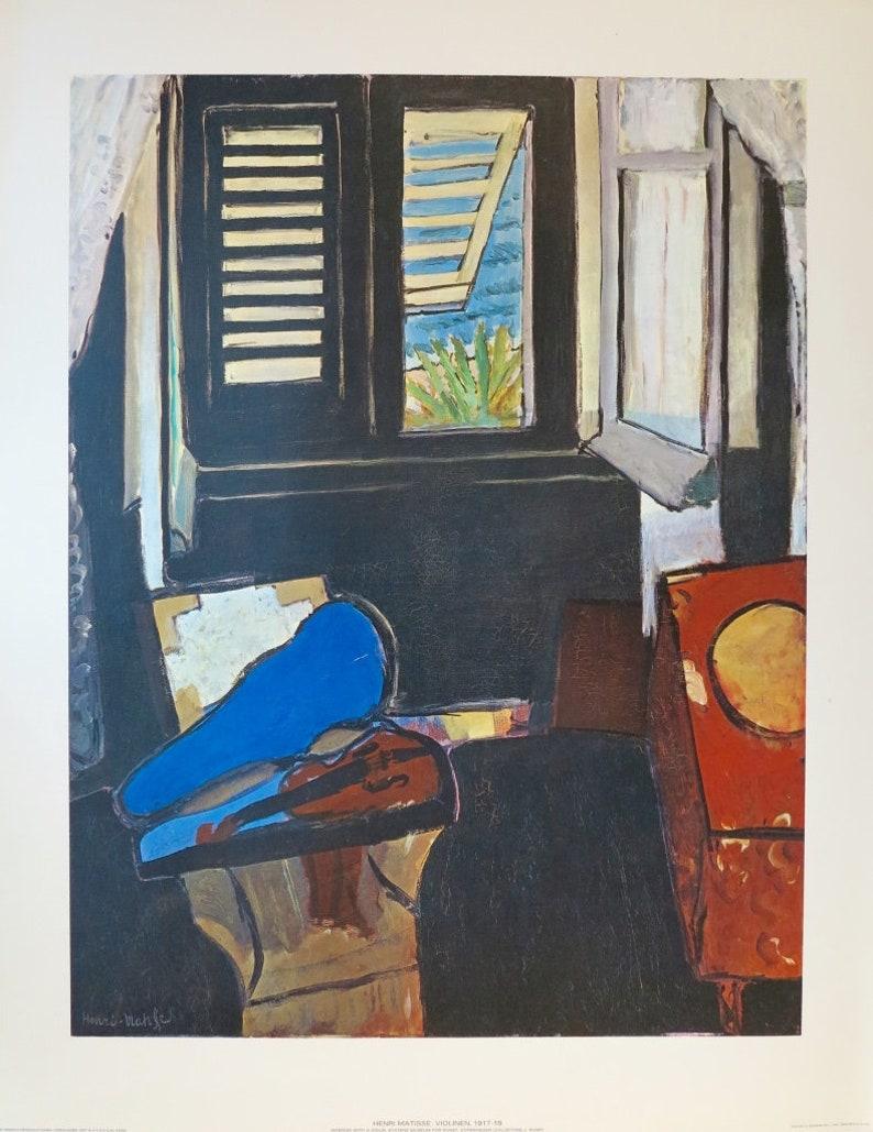 a656b0e374f Henri Matisse exhibition poster Violin still life blue
