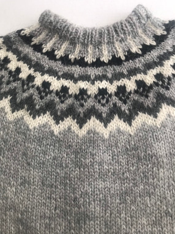 Gray Wool Fair Isle Pullover Sweater