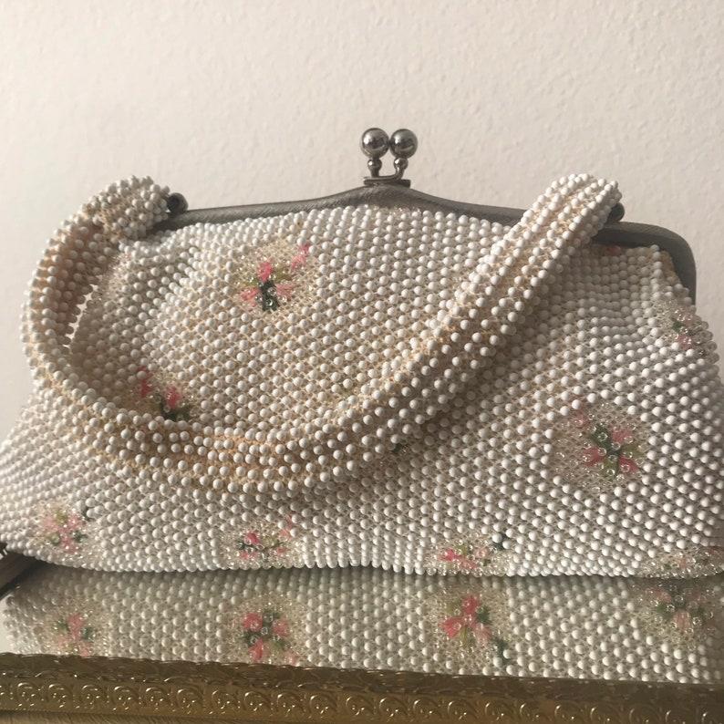 Vintage Corde Bead Handbag with handle 1960s