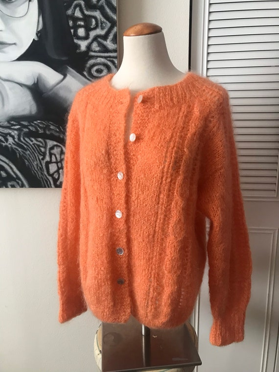 1960s Hand knit Mohair Sweater Orange Sherbet