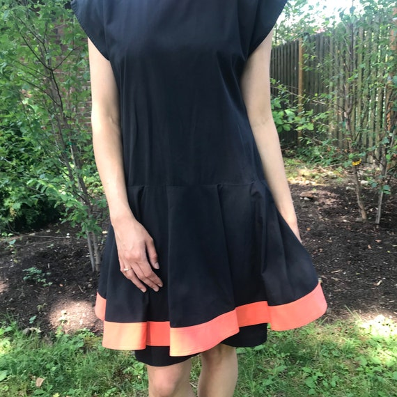 Pierre Cardin Black Dress w/overskirt