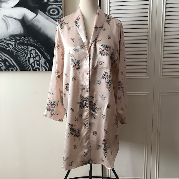 1980s Cacique silky floral night shirt