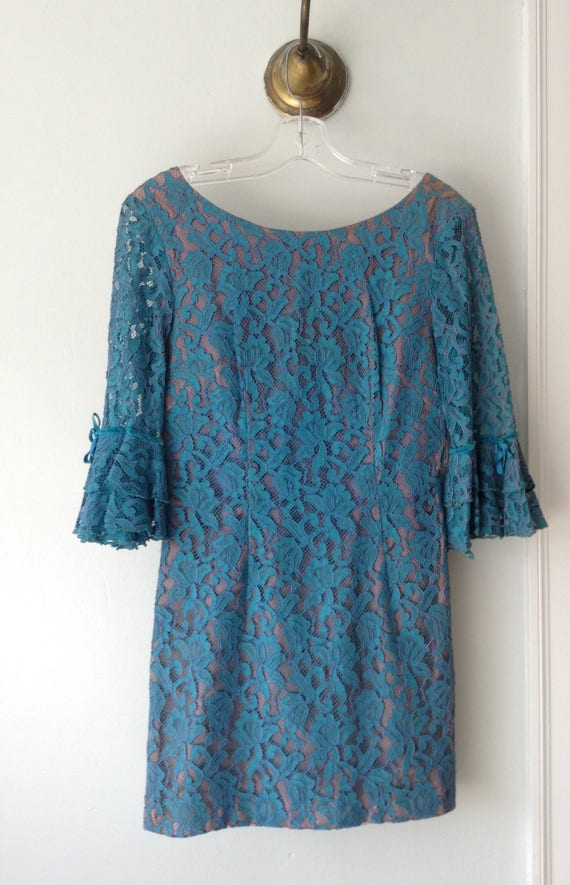 1970s Vintage Turquoise Lace Mini Dress with Ruffl