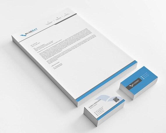 Briefkopf Pad Mit Frei Visitenkarte Design Vorlage In Microsoft Word Photososhop Psd Version Stationär