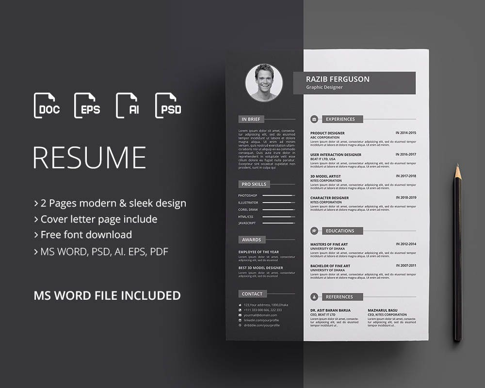 Resume Template / CV Template & Cover Letter | Professional Resume | Word  Resume | EPS resume | Teacher Resume | Instant Download
