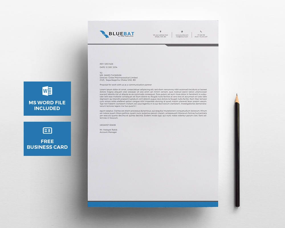 letterhead pad with free business card design template