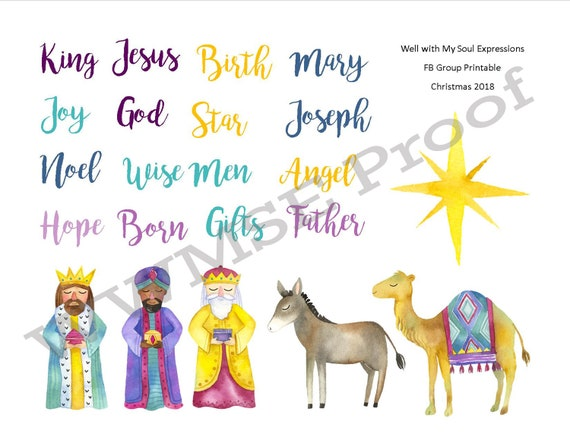 graphic about Printable Nativity identify Jesus is Born Printable, Nativity Scene, Jesus Beginning, King is Born, bible journaling, Xmas, artwork, electronic artwork.