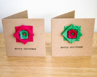 2X Christmas 'flower' cards - red and green origami