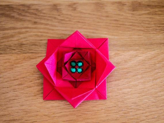 Christmas flower origami sticky bow x4 mightylinksfo