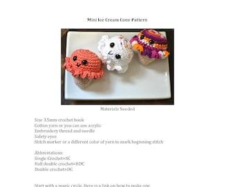 Crochet pattern, ice cream pattern, crochet ice cream pattern, mini crochet pattern, mini food pattern, crochet food pattern, crochet toy