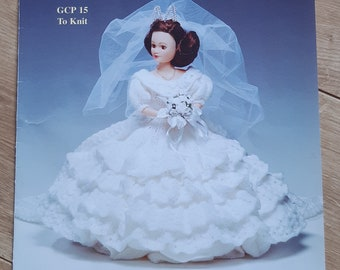 Dolls Clothes Wedding Dress KNITTING PATTERN DK 15 in doll  June Bride GCP 15