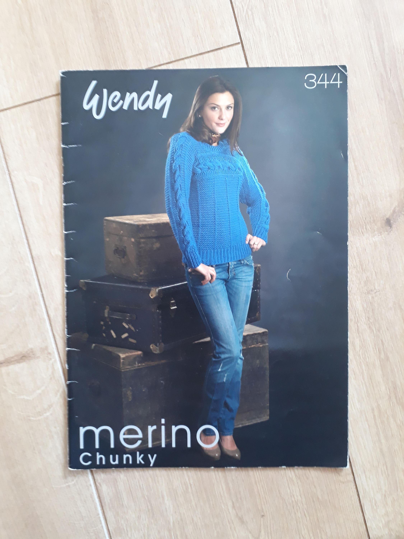 Wendy 344 Merino grueso tejido patrón folleto patrones tejer