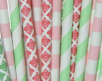 Strawberry Shortcake Paper Straws- Strawberry Shortcake Birthday Party, Baby Shower, Pink, Green, Red Paper Straws by The Iced Sugar Cookie