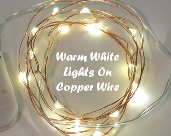 Warm White Birthday Party Lights by TheIcedSugarCookie.com- Lights LED Battery Operated 6.6 Ft-Birthday Party- Warm White On Copper Wire