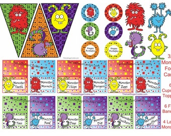 6 Monster Cupcake Toppers Birthday Party Printables Digital