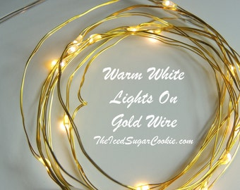 Warm White Birthday Party Lights by TheIcedSugarCookie.com- Lights LED Battery Operated 6.6 Ft-Birthday Party- Warm White On Gold Wire