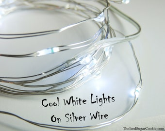 Cool White Birthday Party Lights by TheIcedSugarCookie.com LED Battery Operated 6.6 Ft-Birthday Party- Cool White Lights on Silver Wire