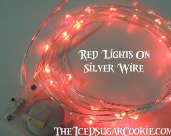 Red Birthday Party Lights by TheIcedSugarCookie.com Red Lights LED Battery Operated 6.6 Ft-Birthday Party-Red Birthday Party LED Lights