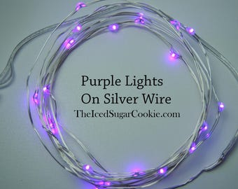 Purple LED Party Lights Birthday Party Lights by TheIcedSugarCookie.com-Led Battery Operated Lights 6.6 ft