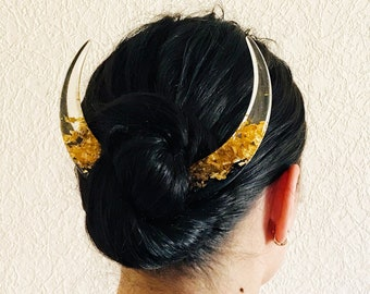 Crescent moon hair stick with black oak, resin and gold foil, Celestial hair stick, Magical moon, Hair barrette, Astronomical bun holder