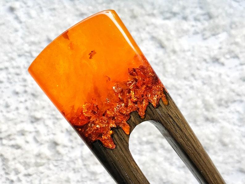 Wooden hair fork for women Hair Jewelry 2 prongs Hair stick orange resin topper and foil Hair fork with oak Bun holder Gift for women