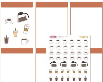 Coffee Iced Hot Take out break time cold brew starbucks Planner Stickers Erin Condren Kikki K Filofax Happy Travelers Notebook Midori SD0011