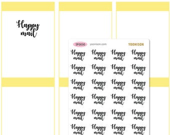 Happy Mail Word Planner Stickers Erin Condren Kikki K Filofax Happy Planner Travelers Notebook Midori SF0030