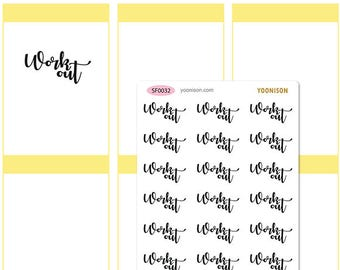 Work out Exercise Word Planner Stickers Erin Condren Kikki K Filofax Happy Planner Travelers Notebook Midori SF0032