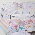 Unicorn Weekly Kit for Erin Condren Life Planner Stickers Spread Rainbow Star Cloud Be a Unicorn in a field of horses KEU001-Kit