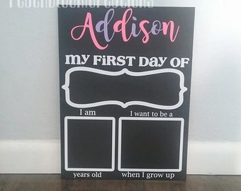 first day of school sign, first day of school chalkboard,  1st day of school, first day of preschool, 1st day of kindergarten, personalized
