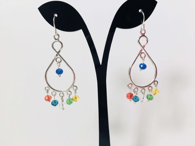 Chandelier Earrings Dangling Silver Multicolor Beaded Women S