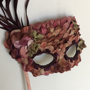 Handmade Mask featuring yellow and peach tinged silk flower petals