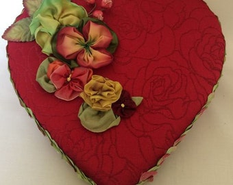 Red brocade Valentine Candy Box trimmed with handmade ribbon flowers and silk petals  OOAK