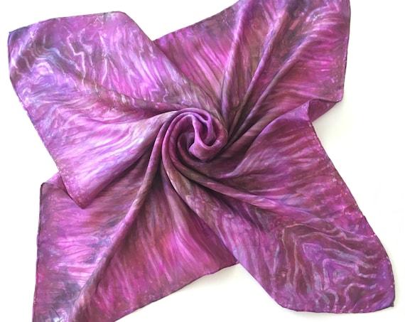 Silk Scarf Bandana in Pink, Magenta, Mocha & Violet