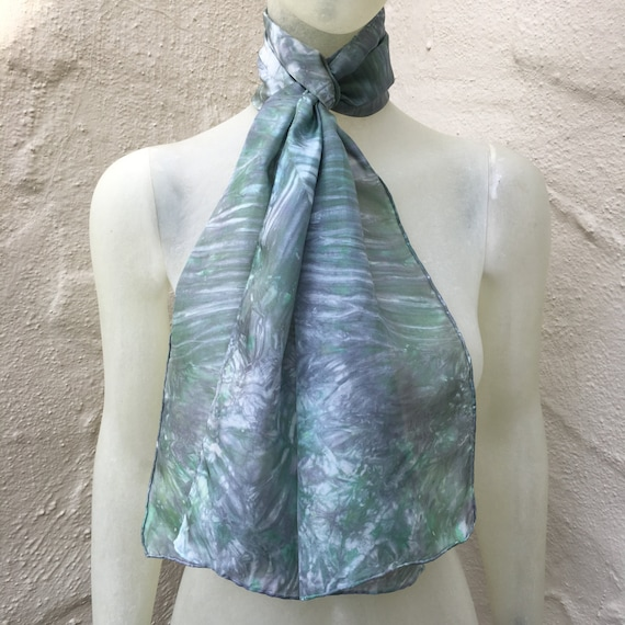 "Silk Scarf for Women or Men in Mint Green, Silver Gray & White 11""x60"" One of a Kind Handmade Wearable Art. Use for neck, head, belt or tie"