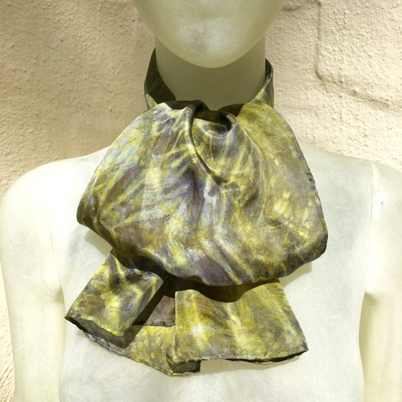 Handmade Silk Scarf for Women or Men in Yellow, Gold, Grey & Silver