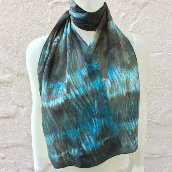 Handmade Silk Scarf for Women or Men in Bronze, Brown, Aqua Blue & White