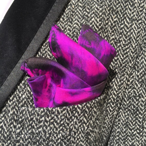 Handmade Silk Pocket Square, Scarf or Handkerchief in Pink, Violet, & Black