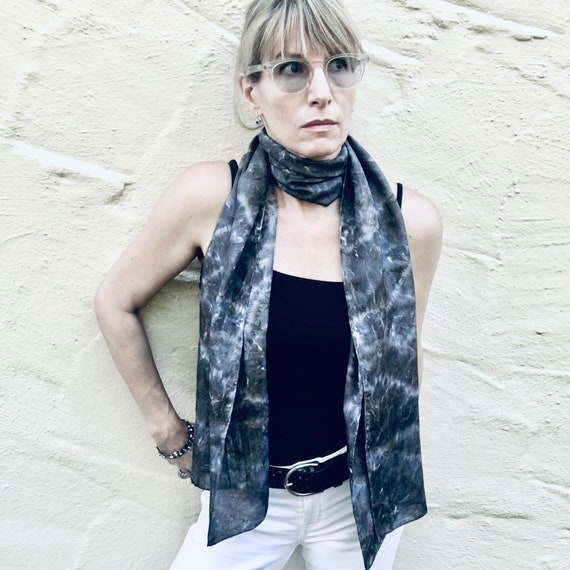 Silk Scarf or Wrap in Black, Charcoal, & White  One of a Kind - Handmade Wearable Art