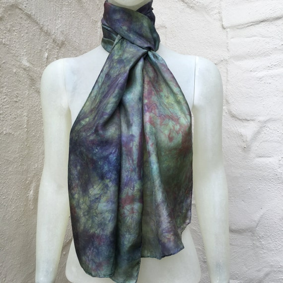 Handmade Silk Scarf or Wrap for Women or Men in Sage Green, Purple & Red