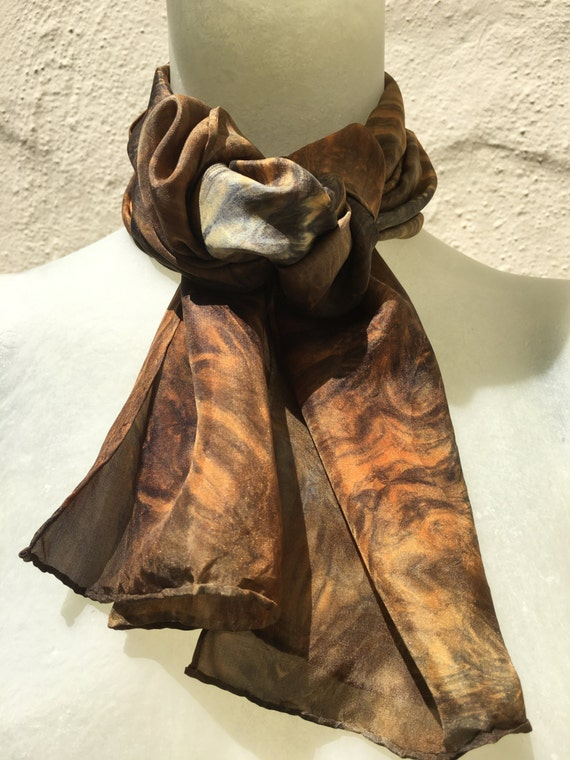 Handmade Silk Scarf in Orange, Salmon, Black & Grey for Women or Men