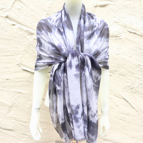 Cashmere and Silk Scarf Shawl for Women or Men in Black, Gray & White