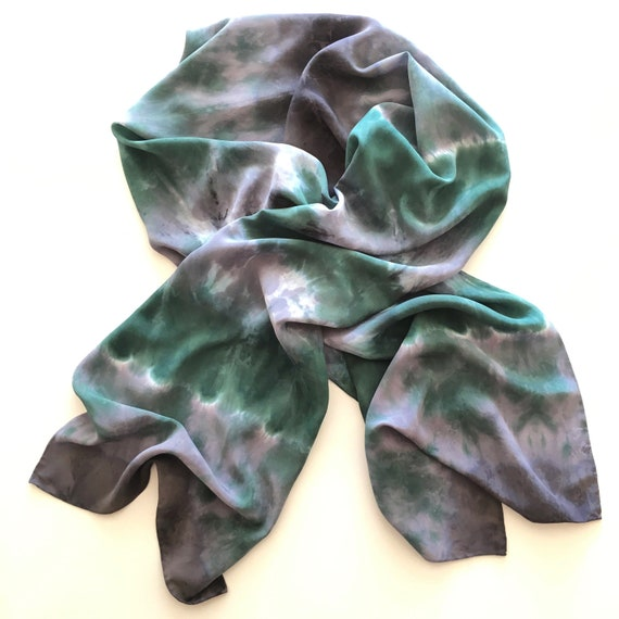 Handmade Silk Scarf in Forest Green, Gray & White