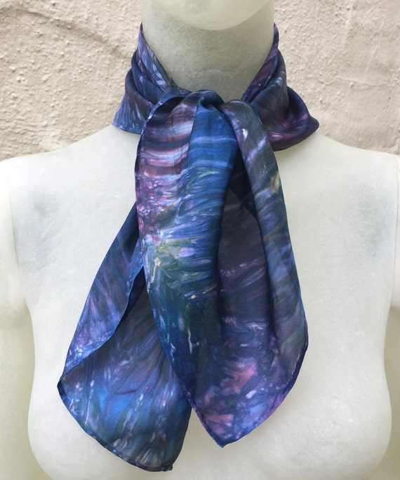 Handmade Silk Scarf in Multi-colors Rainbow for Men or Women