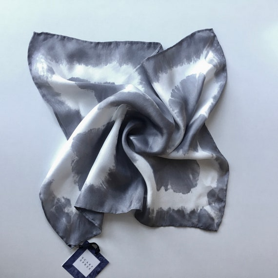 Handmade Silk Scarf for Men or Women, Pocket Square, or Handkerchief in Grey & White