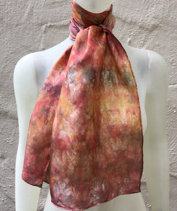 Handmade Silk Scarf for Women or Men in Orange Persimmon Yellow & Black